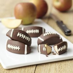 Candy-Coated Apple Footballs | Community Post: 17 Quick And Easy Dessert Touchdowns For Your Super Bowl Party