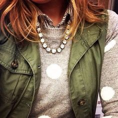 love the stripe shirt, dot sweater, statement necklace and olive utility vest!