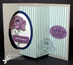 Mary's swing card with directions: You've Got This, In Color Envelope Paper, Boho Chic embossing folder, & more - all from Stampin' Up!