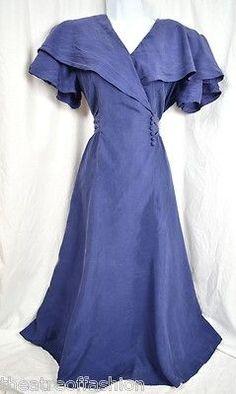 Vintage blue silk dress, circa 1930-40