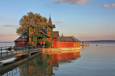 Stunning bathing house in Keszthely, Lake Balaton, Hungary Beautiful Places To Visit, Oh The Places You'll Go, Wonderful Places, Beautiful World, Europa Tour, Big Lake, Around The World In 80 Days, Heart Of Europe, Eastern Europe