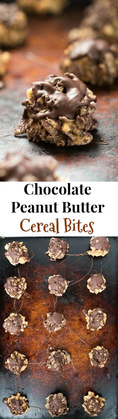 Chocolate Peanut Butter Cereal Bites- simple and nutritious cereal bites great for that sweet tooth or kid-friendly treat! Chocolate Peanuts, Chocolate Peanut Butter, Chocolate Desserts, Chocolate Bars, Cookie Recipes, Snack Recipes, Dessert Recipes, Snacks, Sweet Recipes