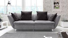 Megasofa MODERN Sofa Bigsofa Polstersofa in grau und schwarz 244x115