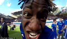 Batshuayi gets up close and personal with the GoPro as the celebrations continue