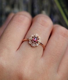 Hot Women Fashion Rose plaqué or zircon branches coquille fleurs Open Ring