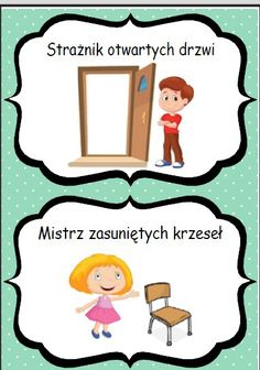 Dyżurni - materiały do druku Preschool Crafts, Crafts For Kids, Polish Language, Classroom Management, Games For Kids, Montessori, Kindergarten, Family Guy, Clip Art