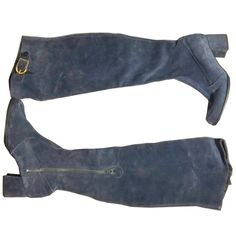 Denim Blue Suede Over The Knee Boots circa 1970s 8