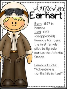 Legend: A mini-unit all about the life and achievements of Amelia Earhart!
