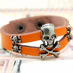Skull Leatherette Bracelet