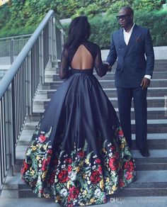 Black Floral Print Ball Gown Evening Dresses Long 2017 Long Sleeves Backless Prom Party Dresses Keyhole Back Formal Dresses Floral Prom Dresses, Prom Dresses Two Piece, Prom Party Dresses, Formal Dresses, Short Dresses, Ball Gowns Evening, Chiffon Evening Dresses, Ball Gowns Prom, African Fashion Dresses
