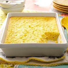 Corn Pudding Recipe- Recipes The pleasing flavor of this golden corn pudding side dish makes it real comfort food. And because the recipe calls for a packaged corn mix, it's easy to prepare. Lauren Fay-Neri, Syracuse, New York Corn Pudding Casserole, Corn Pudding Recipes, Pudding Corn, Casserole Recipes, Corn Recipes, Best Corn Casserole Recipe, Suet Pudding, Figgy Pudding, Tapioca Pudding