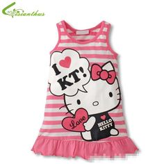 New fashion Girls Hello Kitty Cartoon Striped Vest Dress Girl Princess Summer Sun Dress Cotton Red Pink Cute Clothes Casual