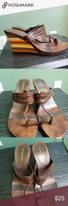 BCBGirl Wedge Heel Sandals Pre-owned but in great condition.  Upper Leathers  Man made lining and sole Size 8 BCBGirls Shoes