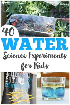 These 40 simple water science experiments for kids are easy to set up and fun for learning about science! Try them indoors or outdoors! via @lookwerelearn