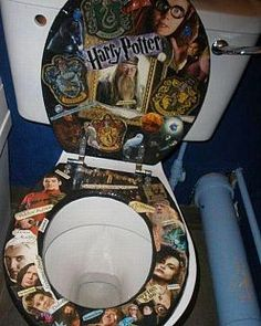 """Harry Potter Fanatic Toilet Could this be anymore weird?  ^^My first though.  """"Oh I want this!"""" Then I read the original post..."""