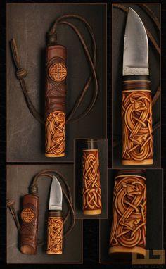 Gerdil Лоран - Скульптура - Человек Клинок XC 75 избирательного тушение Майкл Moing, самшита ручкой и черного дерева Макассар. коробка Корпус и кожа. Размер ножа: 12 см