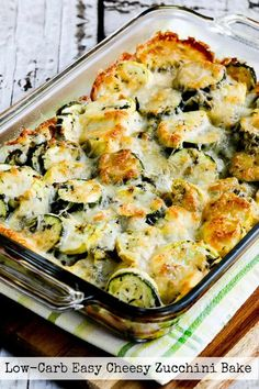 You'll love this Low-Carb Easy Cheesy Zucchini Bake which is most popular zucchini recipe of the Top Ten Low-Carb Zucchini Recipes on Kalyn's Kitchen! Use Zucchini Index to find more recipes like … Cheesy Zucchini Bake, Low Carb Zucchini Recipes, Low Carb Recipes, Cooking Recipes, Healthy Recipes, Baked Zuchinni Recipes, Zuchinni Bake, Zucchini Squash Casserole, Chicken Zucchini Casserole