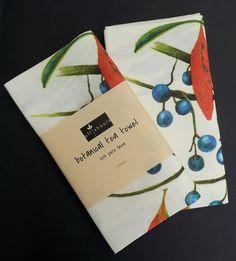 Botanical tea towel, featuring original botanical art by Australian artist. Blue Quandong on pure linen.