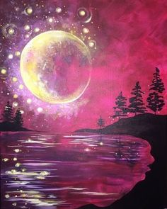 Huge crescent moon painting with bubbles and pink sky, beginner canvas painting.