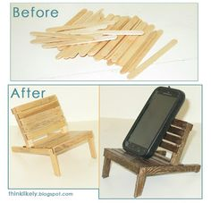 Mini pallet chair for a cell phone holder and docking station.