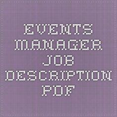 events manager job description pdf - Banquet Manager Job Description