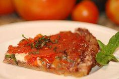 Tomato Tarte Tatin with olive tapenade and mozzarella cheese~