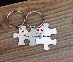 Long distance relationship gift custom puzzle piece key chains his and hers you complete me gift fo Bday Gifts For Him, Bf Gifts, Couple Gifts, Boyfriend Gifts, Gifts For Mom, Long Distance Relationship Gifts, Long Distance Gifts, Relationship Games, Relationship Tattoos