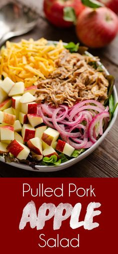 Pulled Pork Apple Sa Pulled Pork Apple Salad is an easy and hearty salad filled with leftover pulled pork shredded sharp cheddar cheese quick pickled onions and crisp apples tossed with a light homemade dressing for a healthy and delicious dinner! Salad Recipes For Dinner, Dinner Salads, Healthy Salad Recipes, Apple Recipes Dinner, Vegetarian Salad, Shredded Pork Recipes, Pulled Pork Recipes, Recipes With Pulled Pork Leftovers, Pulled Pork Sides
