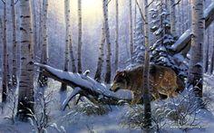 Artist Derk Hansen Unframed Wildlife Wolf Art Print The Loner | WildlifePrints.com