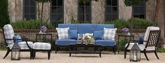 Create your dream patio with comfortable outdoor furniture sets that include sofas and chairs with all-weather cushions in a variety of styles and patterns. Outdoor Dining, Outdoor Sofa, Outdoor Spaces, Outdoor Decor, Outdoor Ideas, Colorado Homes, Patio Seating, Patio Furniture Sets, Outdoor Landscaping