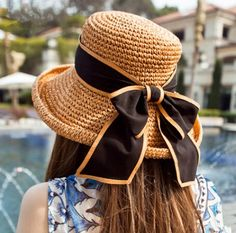 Coffee straw hat for women large bow decoration summer UV sun hats
