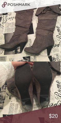 Grey heeled boots Grey heeled boots Charlotte Russe Shoes Heeled Boots