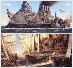 Victorian City-Ship Sketches, Chris Chaproniere on ArtStation at https://www.artstation.com/artwork/victorian-city-ship-sketches