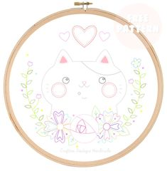 Crafters Boutique: Free Embroidery Pattern - 'I Love My Cat' Floral Embroidery Patterns, Sashiko Embroidery, Applique Patterns, Cross Stitch Patterns, Embroidery Designs, Funny Embroidery, Custom Embroidery, Advanced Embroidery, Cat Quilt