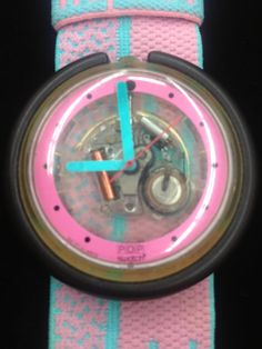 RESERVED 80s 1980s Pop Swatch Clear See Through Wrist Watch