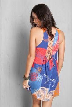vestido amarração estampado temari