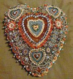 Creating Stitching, Sailors Valentines, Antique Beaded Pincushions, Sailors Cushions, Artsy Hearts, Wwi Sailors, Fiber Art, Sweetheart Pincushions