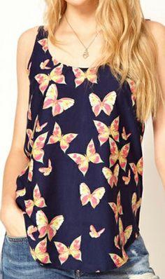 Butterfly pattern vest WTX9325