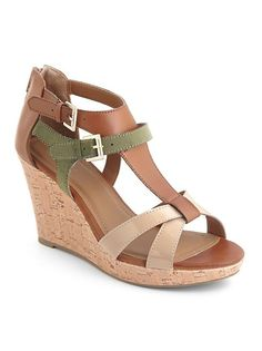 dots: Colorblocked T-Strap Wedge Sandal ... $24.00