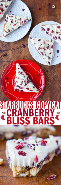 Copycat Starbucks Cranberry Bliss Bars — For anyone who loves the Starbucks version, these are can be made year-round at home for pennies on the dollar and taste every bit as fabulous and then some!! I like to call them Better-Than-Starbucks Cranberry Bliss Bars!! Summer Desserts, Fun Desserts, Delicious Desserts, Easter Desserts, Yummy Treats, Best Dessert Recipes, Holiday Recipes, Easy Recipes, Copycat Recipes