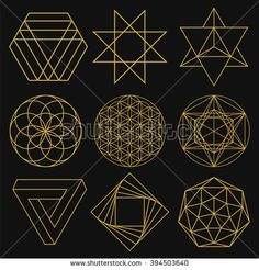 Sacred Geometry. Set of figures with sacred symbols and elements. Vector…