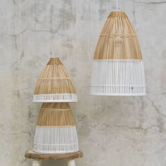 DASSIE Modern two-tone Dipped Bamboo Light £116 for a set of 3 or Small: £35 Medium: £45 Large: £65 Each lampshade has been carefully woven by artisans using bamboo.