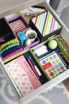 Organise your drawers with saved box covers and smaller boxes.