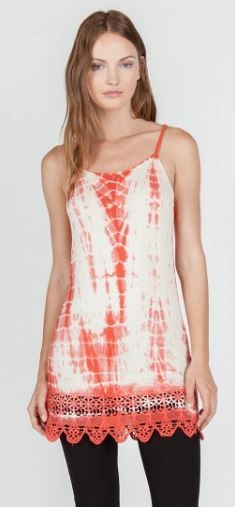 Umgee-M9802 Coral, teal, or navy tie dyed tank with lace available at Trees n Trends