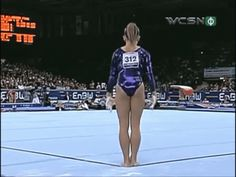 Shawn Johnson gif. 2007 World Championships Floor first pass, double double #gymnastics