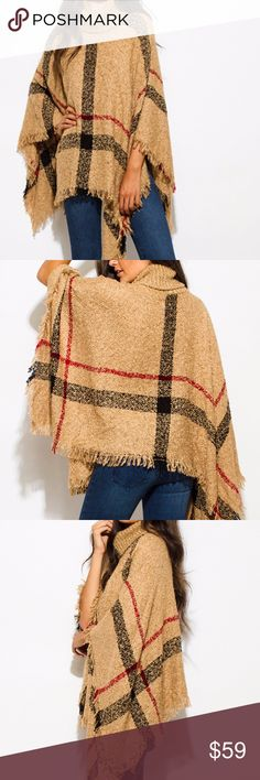 Boho Knit Poncho chunky cowl neck sweater in camel Warm and fuzzy turtleneck poncho top with fringe trim and checker plaid design. Perfect for a stylish fall or winter outfit! Unlined. One size. 100% Acrylic Sweaters Shrugs & Ponchos