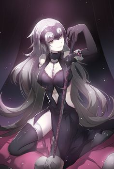 Anime picture 1378x2039 with   fate (series)  fate/grand order  jeanne alter  ruler (fate/grand order)  tebd menkin  single  tall image  looking at viewer  light erotic  smile  yellow eyes  very long hair  silver hair  cleavage  full body  kneeling  arm up  turning  girl  thighhighs