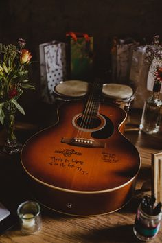 Guitar Guest Book Wiltshire Barn Wedding Photography34 #Guitar #GuestBook #Wedding
