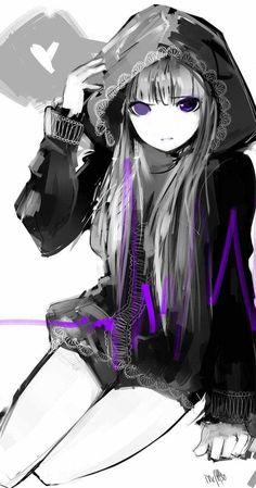 anime girl wearing hoodie | grey hair - heart - hood - long hair - purple