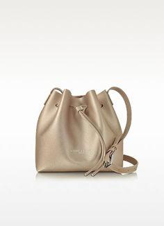 New Arrivals Lancaster Paris Pur Element Champagne Saffiano Leather Mini Bucket Bag